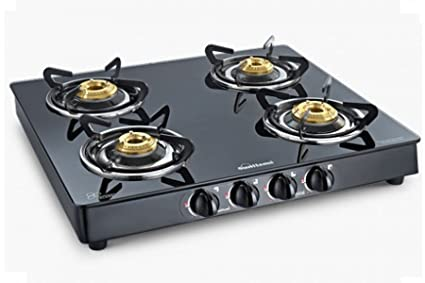 Sunflame Classic Glass Top Black - Ss Body 4 Burner - Bk Stove