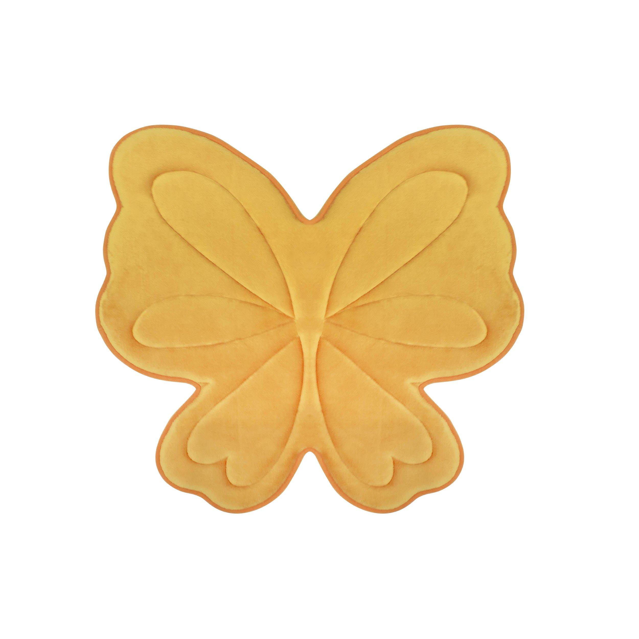Bounce Comfort Memory Foam Butterfly 30 x 30 Bath Mat, Banana Yellow