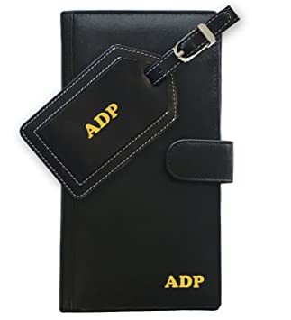077a68cb633a Amazon.com | Personalized Monogrammed Black Leather RFID Travel ...