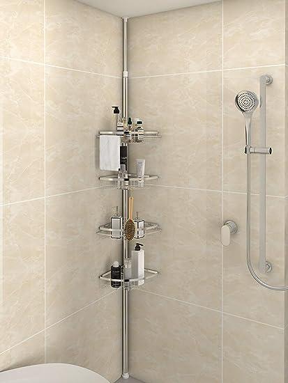 Merveilleux Lifewit Corner Shower Caddy 4 Tier Adjustable Shower Organizer Bathroom  Constant Tension Corner Pole Caddy Free