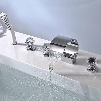 5 Einheiten Wannenrandarmatur Badewanne Wasserhahn Wasserfall ...