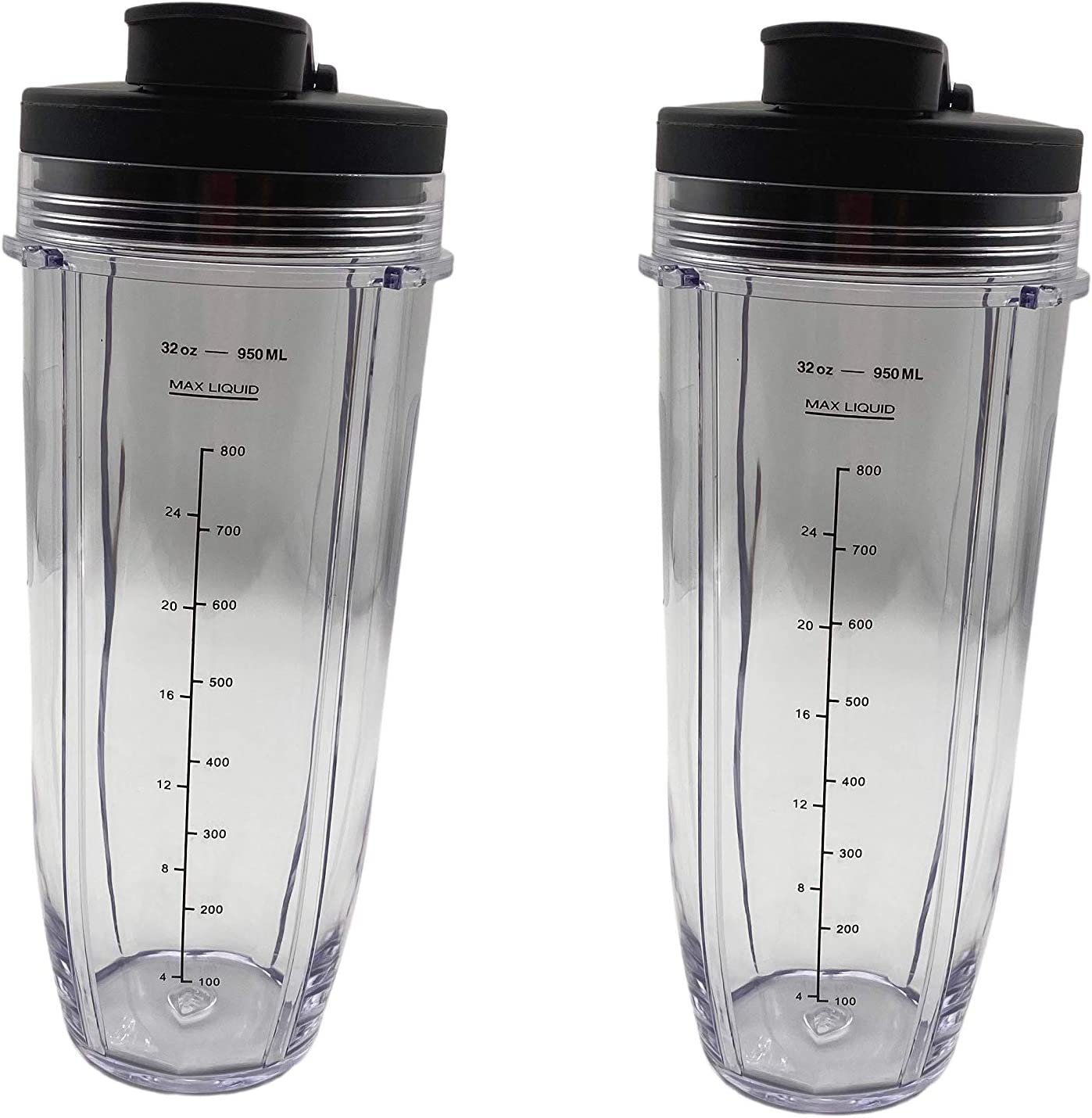 QRInnovations Durable 32 oz (2 Pack) Blender Cups With Sip & Seal Lids Compatible With Nutri Ninja Auto IQ Series Blenders (2 Packs, 32 oz Cups, Sip & Seal Lids)