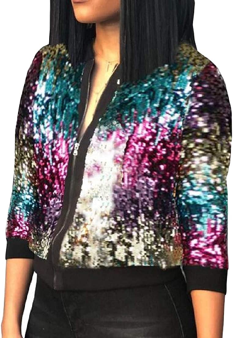 XXBlosom Womens Stylish Long Sleeve Sequins Glitter Zip Up Coat Jacket