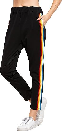Stripes Paintings Trousers Women Printing Black Flowers Leggings Elasticity Pant