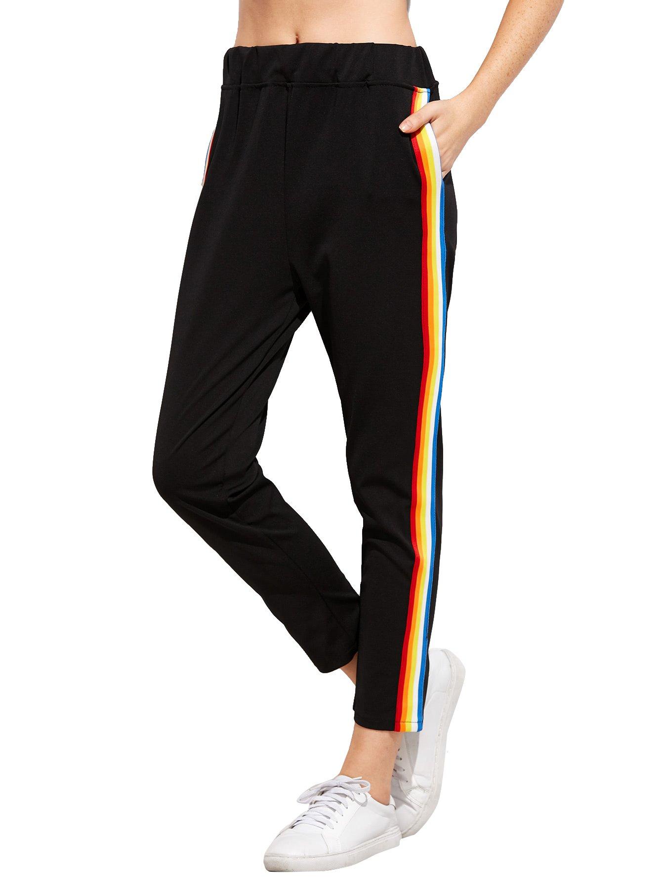 Romwe Women's Casual Athletic Rainbow Stripe Sweatpants Yoga Elastic Mid Waist Jogger Track Pants Black S