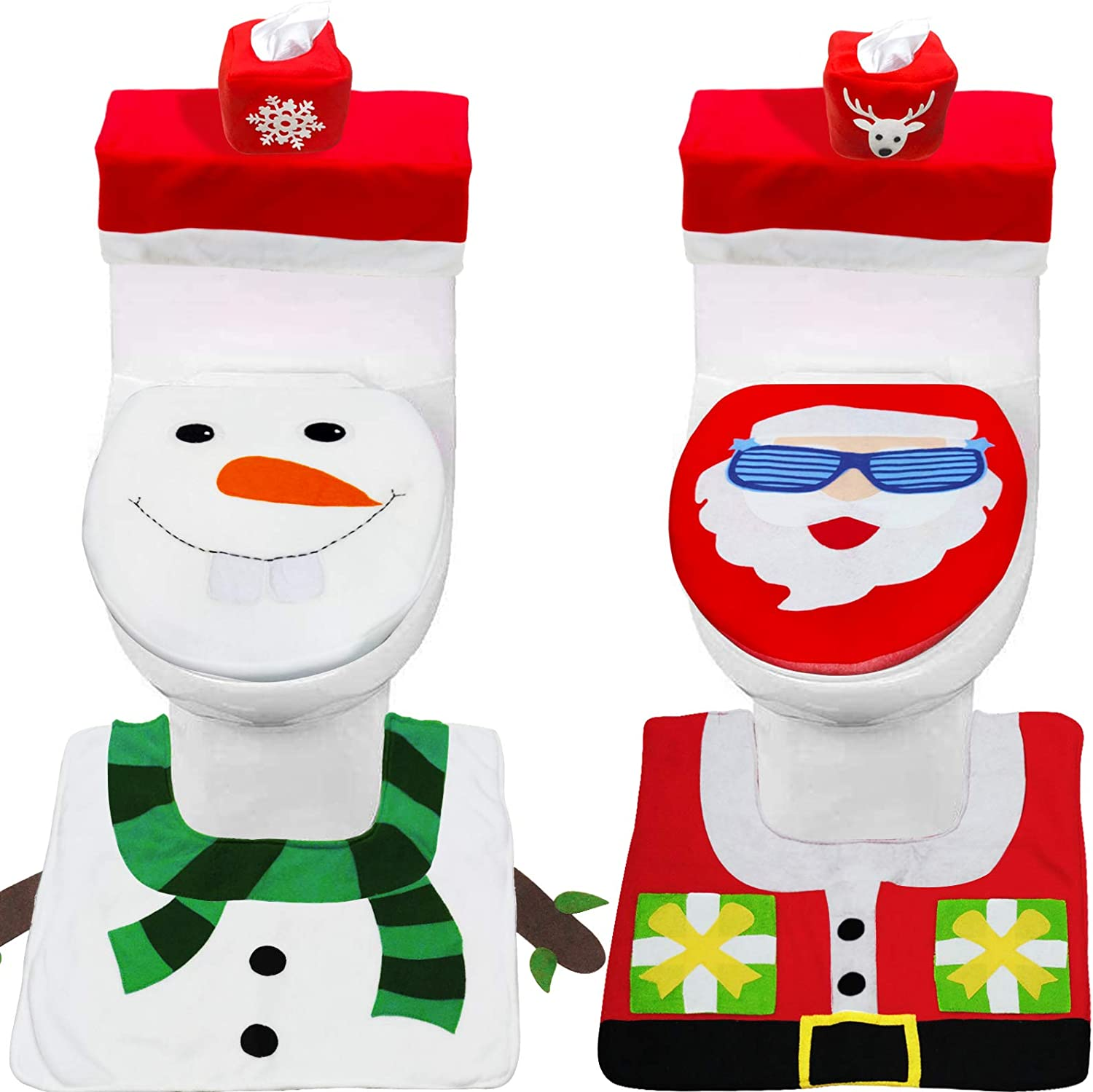 TURNMEON 8 Pieces Christmas Toilet Seat Cover Decorations, Double Sided 3D Funny Santa Snowman Christmas Toilet Seat Cover Lid and Rug Set Holiday Christmas Decoration Bathroom Indoor Home Xmas Decor