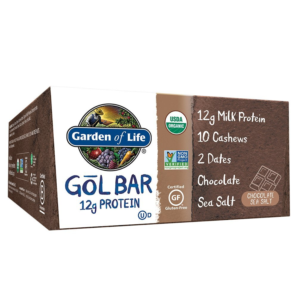 Garden of Life Organic GOL Bars - Chewy High Protein Whole Food Bar - Chocolate Sea Salt (12 per Carton) | Certified Organic, Non-GMO & Gluten Free, No Gluten, No Added Sugar - 12g Milk Protein by Garden of Life