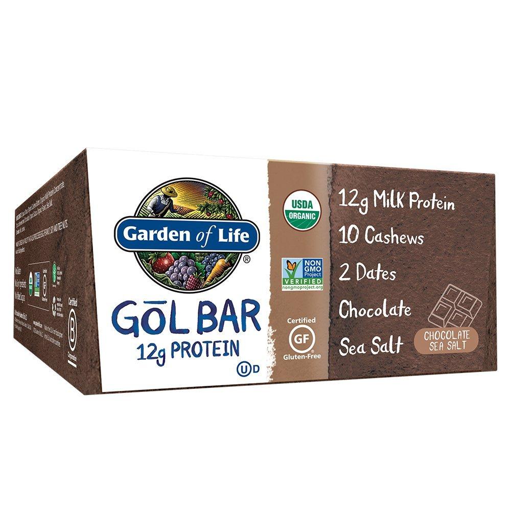 Garden of Life Organic GOL Bars – Chewy High Protein Whole Food Bar – Chocolate Sea Salt (12 per Carton)   Certified Organic, Non-GMO & Gluten Free, No Gluten, No Added Sugar – 12g Milk Protein