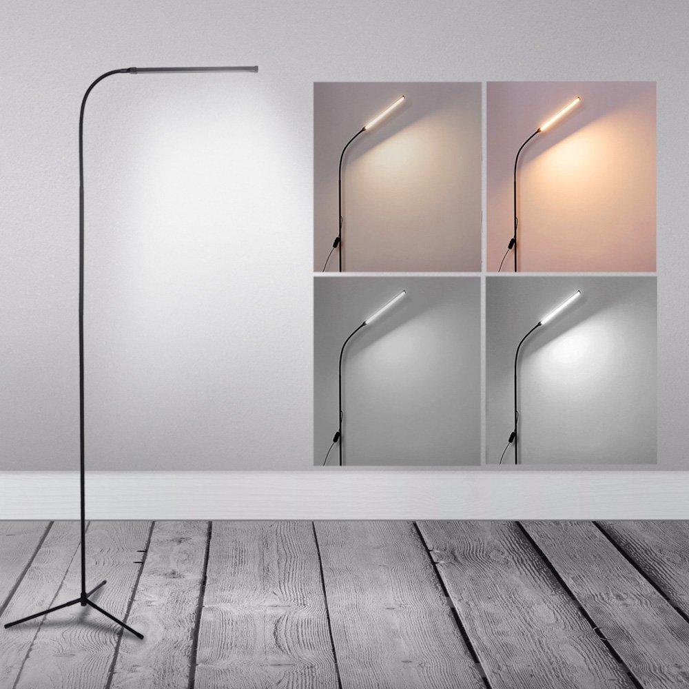 LED Floor Lamp Standing Reading Lamp, Dimmable Adjustable Gooseneck Desk Table Lamp (4 Color Temperatures, 8W, Floor Light for Living Room, Bedroom, Office) Black