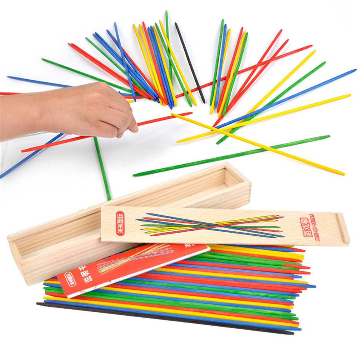 classic game,Classic Wooden Thin Pick Up Stick Game 41 Pieces Fun Family Game Gift Idea --9.8 Inch Long (I Pack) BTJP