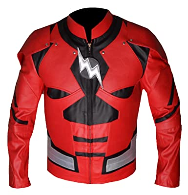 Bskull Super Rouge Hero Homme Faux Flight Flash Veste 4 Cuir Costume N8yv0wOmn