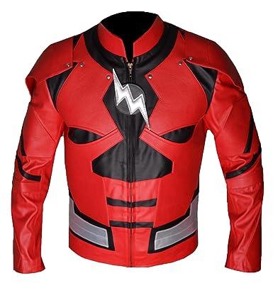Rouge Veste Flight 4 Super Cuir Costume Hero Homme Bskull Flash Faux ymvN8Own0P