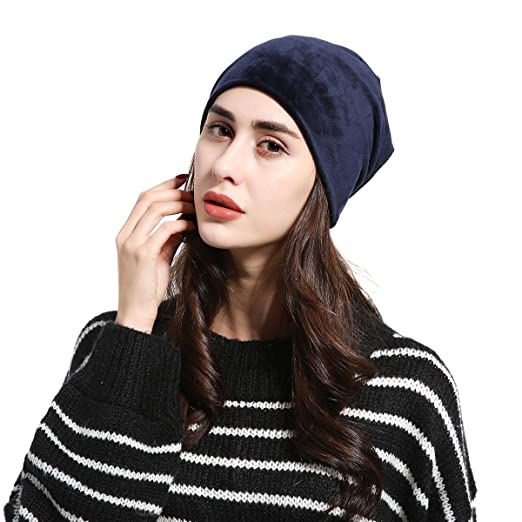 JOOWEN Women s Velvet Plain Slouch Beanie Hat (Navy) at Amazon ... 43076920df28