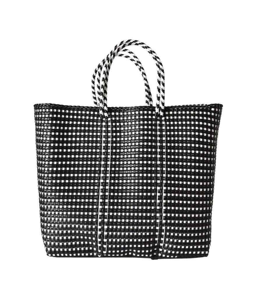 (レトラ) Letra メルカドバッグ BORDER&pattern M mercado-bag-bomidi-m B07D54GQKC M|ブラックミニチェック ブラックミニチェック M