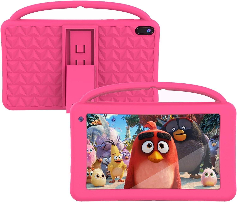 Tablet Niños 7 Pulgadas Pantalla IPS HD WiFi QuadCore Android 10.0 Pie Tablet PC para Niños - Certificación GMS 2GB + 32GB Funda Silicona Portátil Mano Regalo Cumpleaños para Niños (Rosa)