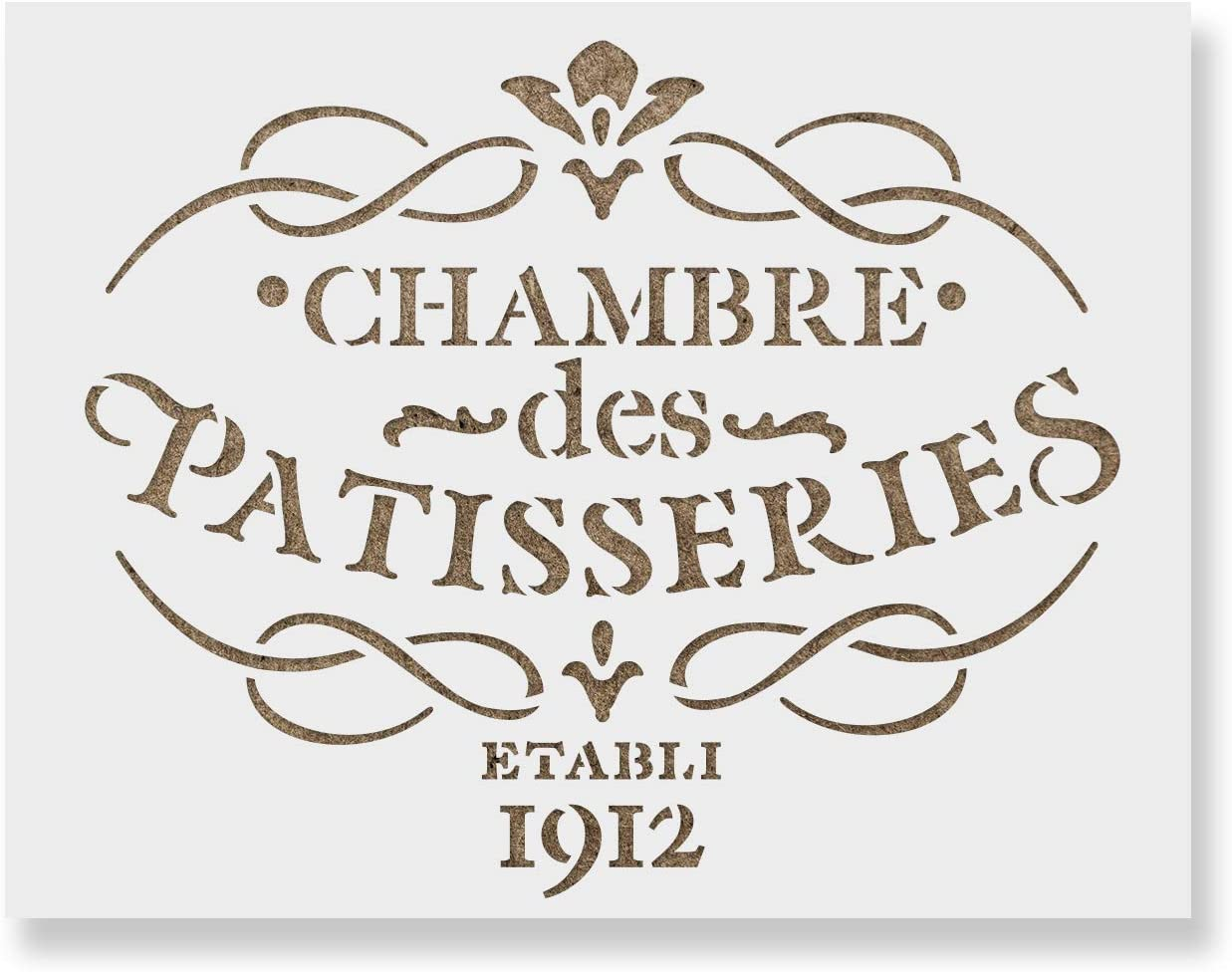 French Label Chambre des Patisseries Stencil Template for Walls and Crafts - Reusable Stencils for Painting in Small & Large Sizes