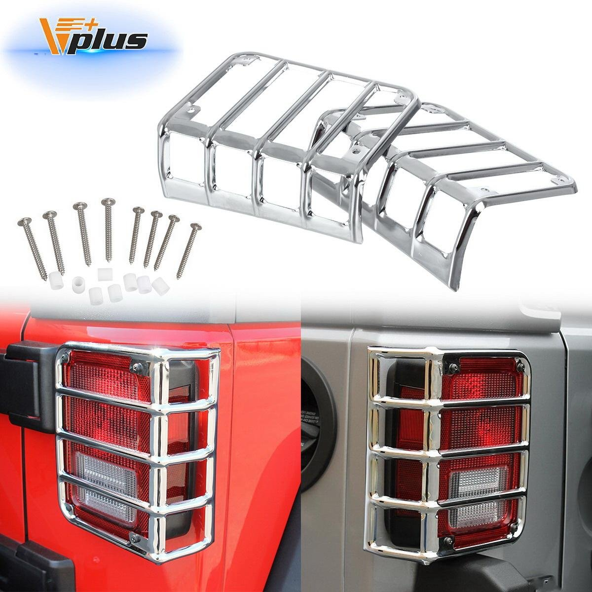 Vplus Five Bar Silver Rear Euro Tail Light Guard Cover Protector 2007-2016 Jeep Wrangler Pair