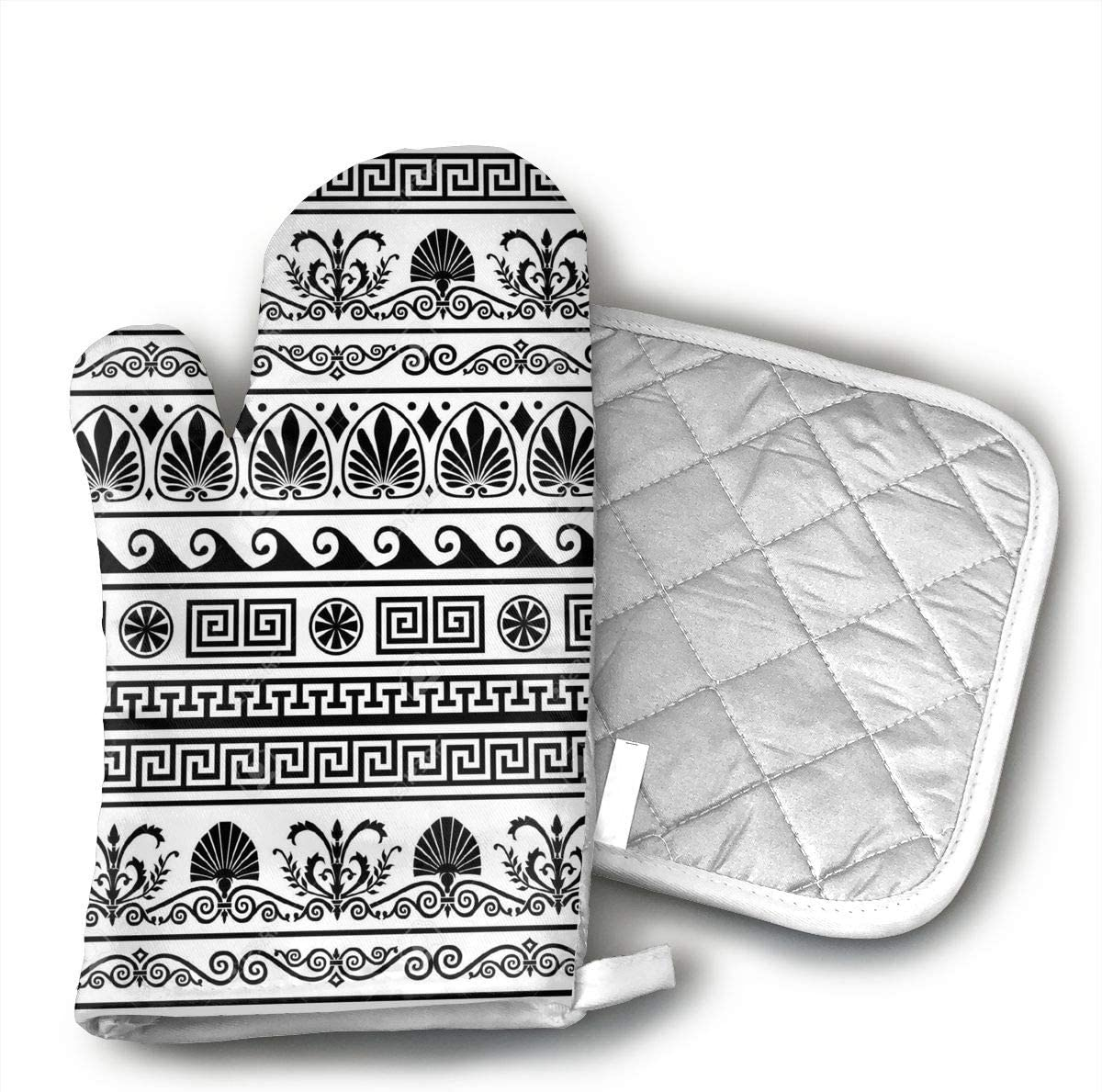 TUJABZA71 Retro Greek Pattern Background Cotton Heat Resistant Double Oven Mitts/Gloves Potholder Extra for Kitchen Cooking Baking