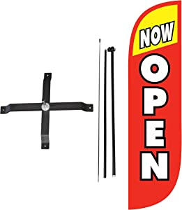 LookOurWay 5ft Open Themed 5-Feet Tall Feather Flag Complete Set with Poles & X-Stand Base