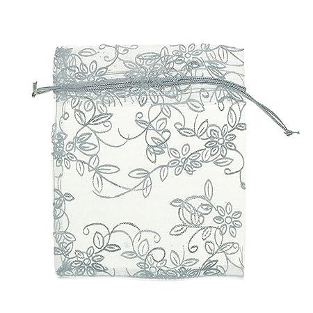 K-Y 50 Bolsas de Organza con cordón de Color Blanco con ...