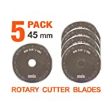 Rotary Cutter Blades 45mm x 5 Pack | Compatible with OLFA, Fiskars 45mm Rotary Cutter | Perfect for Quilting, Patchwork, Crafts and Sewing