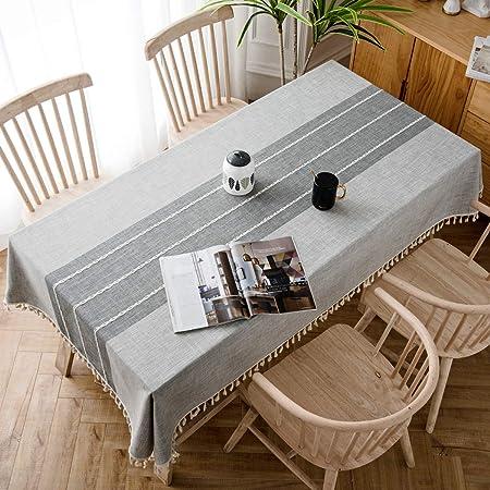 J-MOOSE Moderna Tovaglia in Cotone Lino Rettangolare Tovaglie per Tavolo  Rettangolare Decorazione Domestica della Cucina (Gray, 140x220cm)