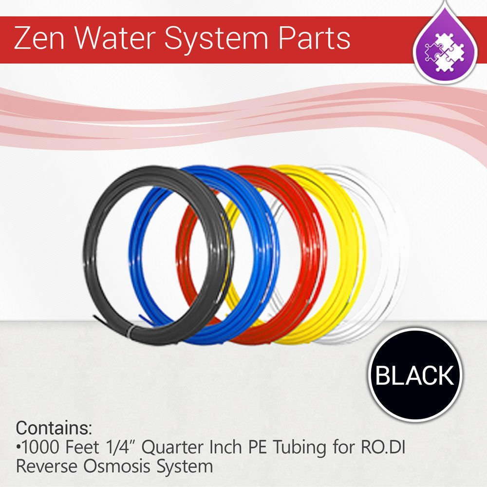 "Max Water 1000 Feet 1/4"" Quarter Inch PE Tubing for RO.DI Reverse Osmosis System (Black)"