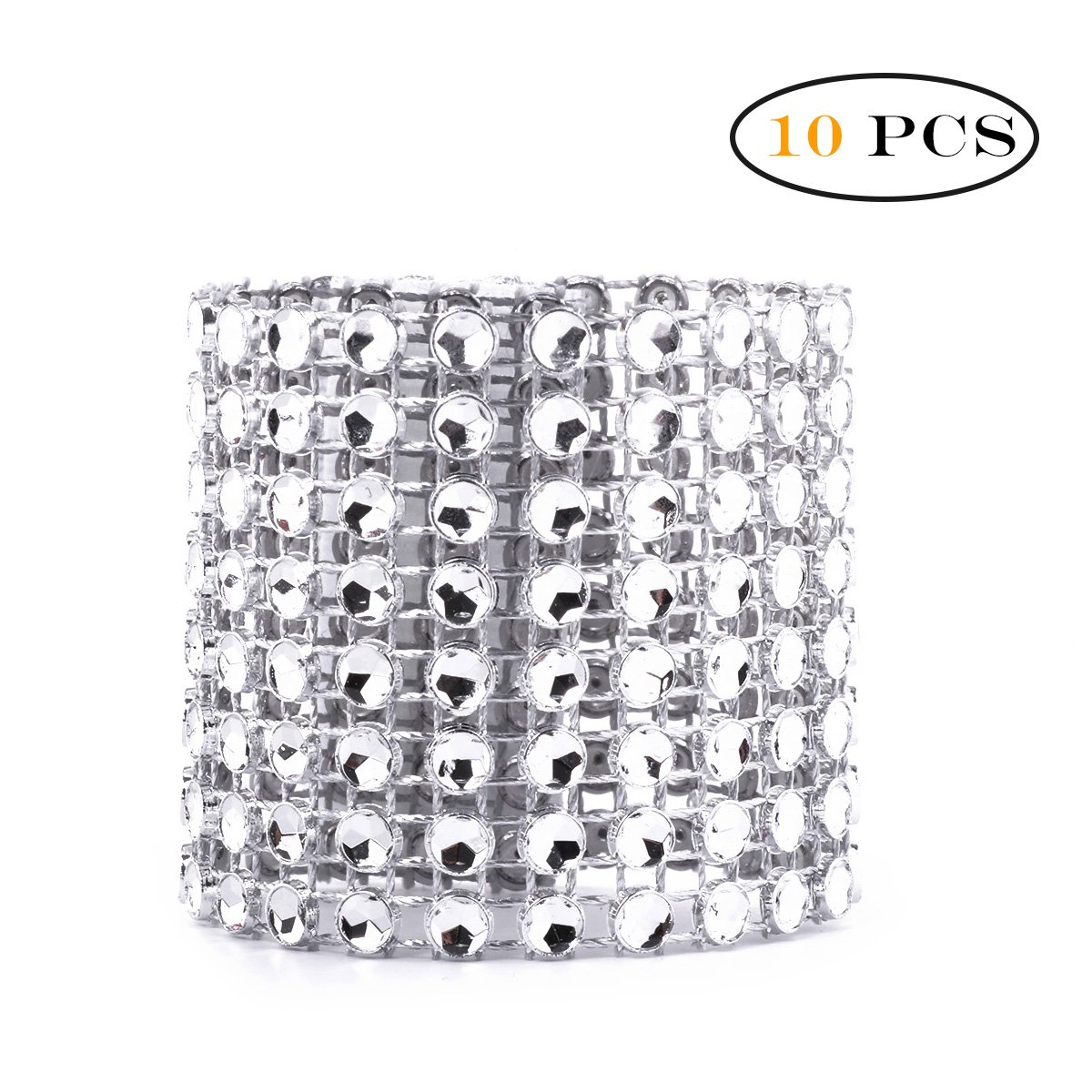 TiaoBug Bling Rhinestone Napkin Rings Dinner Banquet Flower Boutique Enclosure Adornment for Wedding Xmas Party Reception Gold 10 Pcs