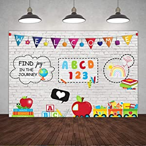 5×3ft Teaching Online Teacher Welcome Photo Backdrop White Brick Wall Study at Home Blackboard Back to School Students Background for Photography Pencil Books Subject Banner Decorations Photo Props