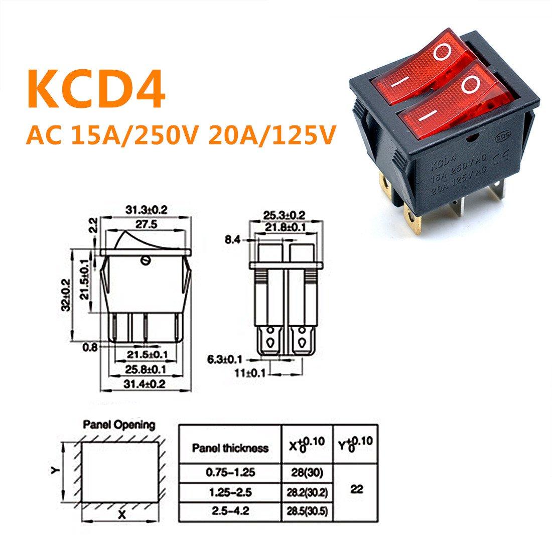 Green Light Red Light Willwin 5 Piezas, KCD4 AC 250 V, 16 A, luz roja, 6 terminales, Encendido//Apagado, Doble SPST 2 V/ías Interruptor basculante para Barco