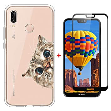 Laixin Funda para Huawei P20 Lite Transparente Carcasa TPU Silicona Case Cover [Anti-arañazos] Cristal Bumper + Protectore de Pantalla, Señor Gato