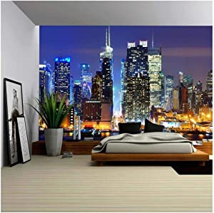 wall26 - Lower Manhattan from Across The Hudson River in New York City. - Removable Wall Mural | Self-Adhesive Large Wallpaper - 100x144 inches