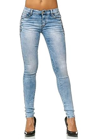 ArizonaShopping Damen Jeans Hose Skinny Stretch Röhre Strass Glitzer D2561   Amazon.de  Bekleidung 1df4c3ba3b