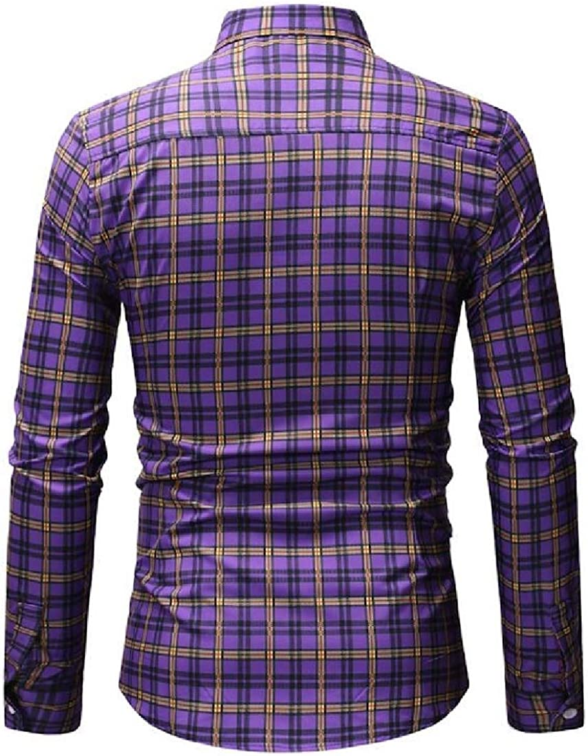 hower Mens Casual Slim Fit Long Sleeve Plaid Print Dress Shirt