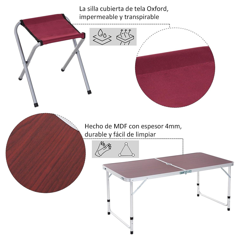 Outsunny Mesa Maleta de Aluminio 4 Taburete Plegable Portátil para Acampada Picnic Jardín Terraza Conjunto Muebles Exterior Altura Ajustable: Amazon.es: ...