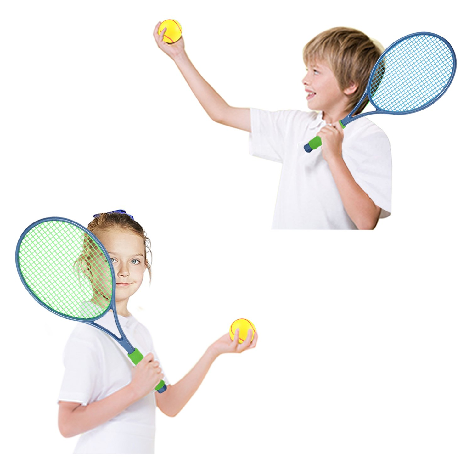 EXERCISE N PLAY Two Piece Tennis Racket Set with Tennis Ball for Kids, Sports Junior Tennis Racquet, Kids Training Tennis Balls