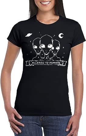 Black Female Gildan Short Sleeve T-Shirt - Allergic to humans design