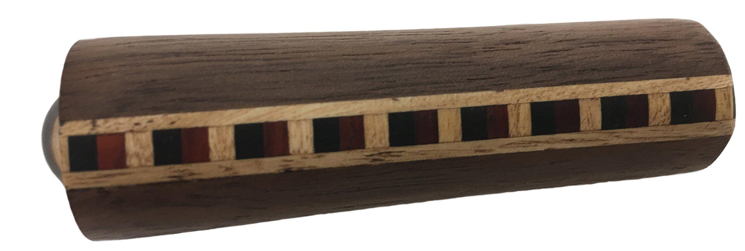 N & J Kaleidoscope Teleidoscope in Solid Walnut Wood, MINI 3 Inch, Inliad Band of Padauk, Ebony and Jalneem