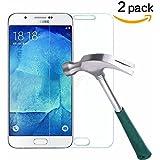 Galaxy J7 Screen Protector,TANTEK [Bubble-Free][HD-Clear][Anti-Scratch][Anti-Glare][Anti-Fingerprint] Premium Tempered Glass Screen Protector for Samsung Galaxy J7(2015),[Lifetime Warranty]-[2Pack]