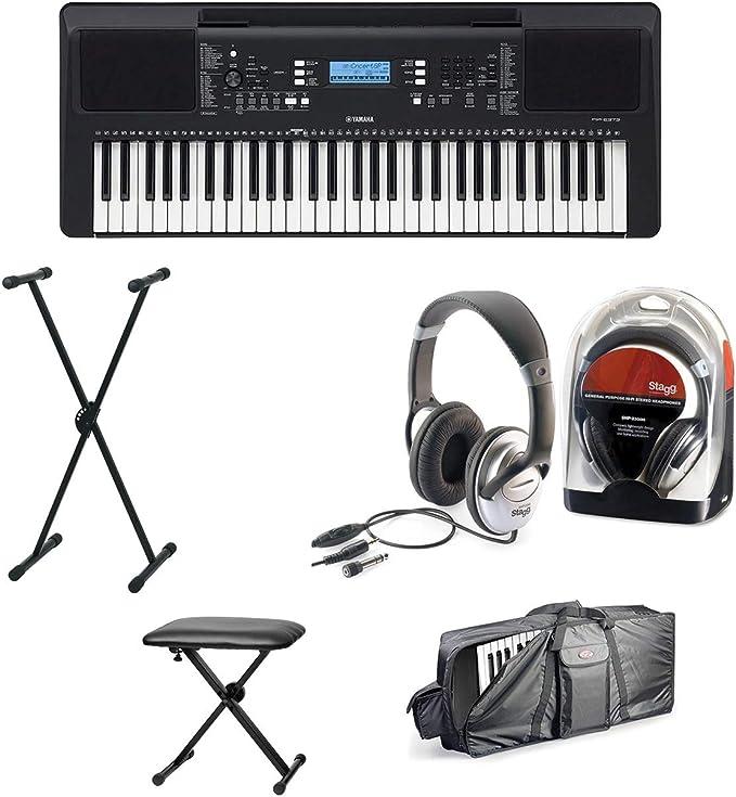 Yamaha PSR-E373 - Teclado con soporte, auriculares, funda y ...
