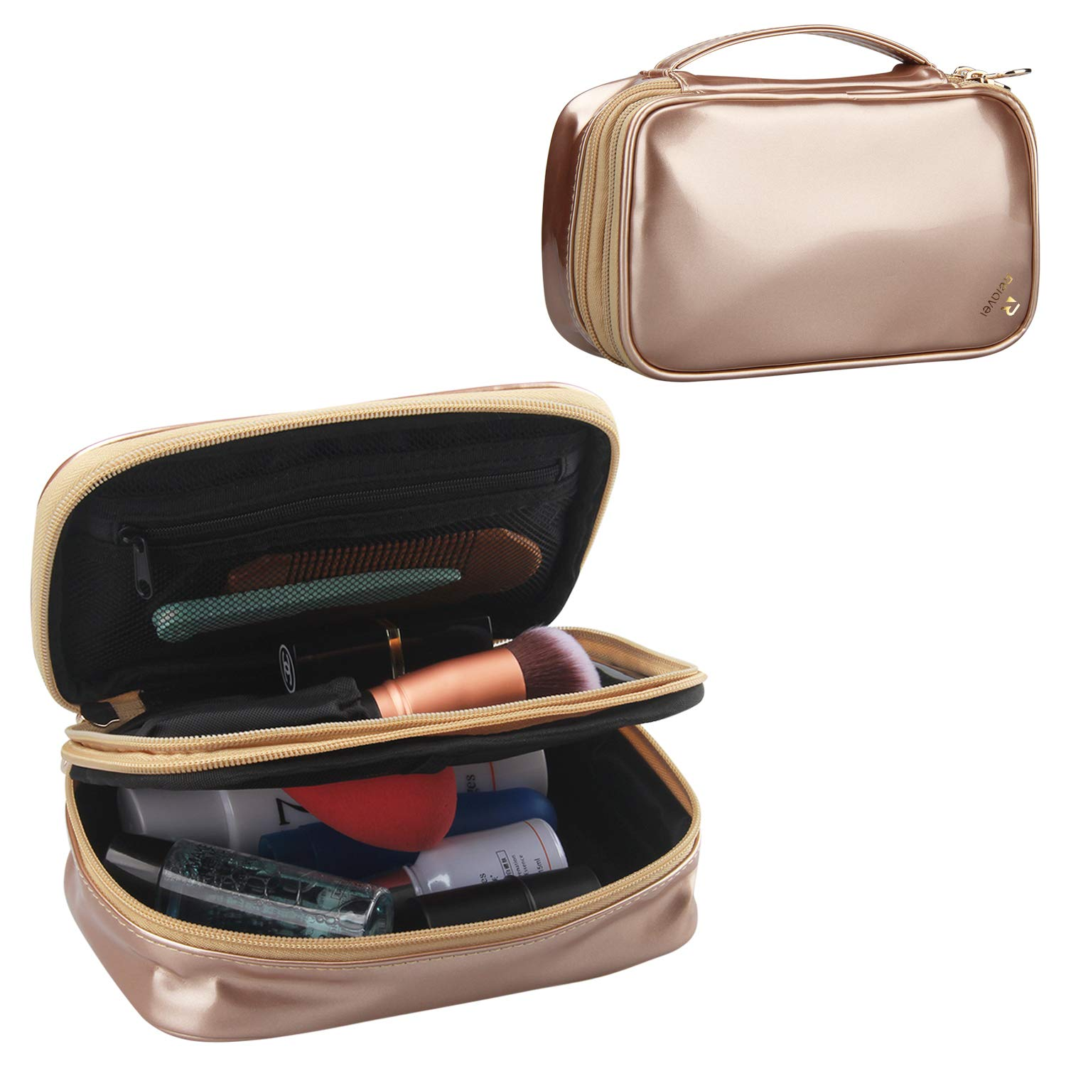 Relavel Travel Cosmetic Bag Small Makeup Bags for Women Portable Cosmetic Case Makeup Brush Organzier (Rose gold)