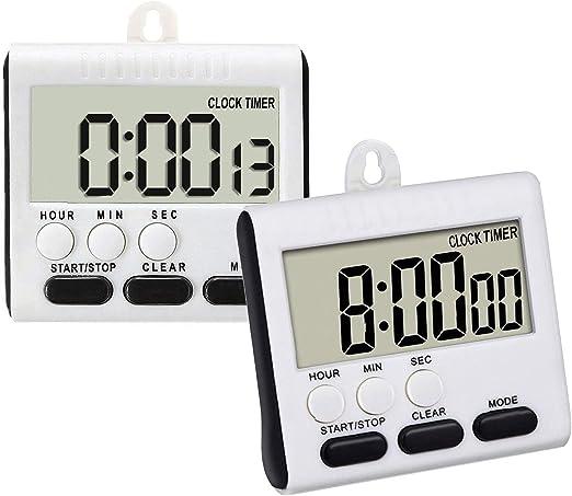 Cronómetro digital de cocina con pantalla LCD grande, función de ...