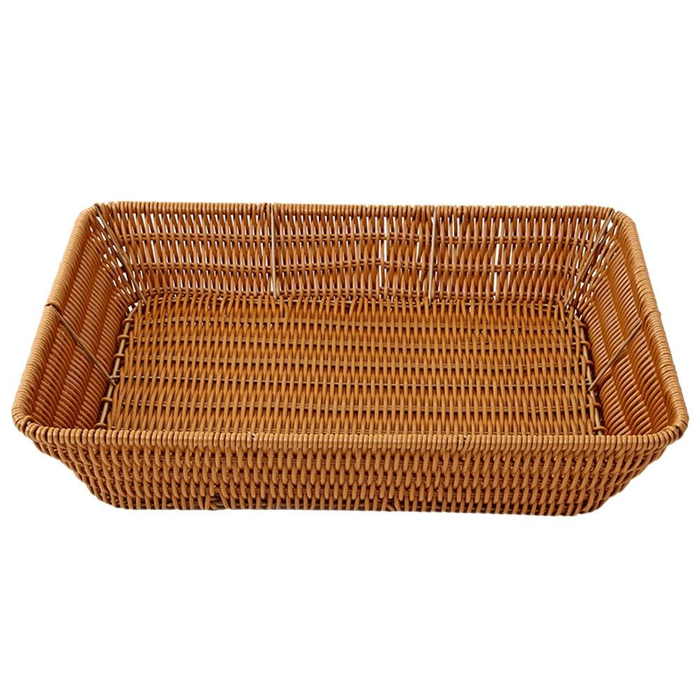 VKTECH 100% Handmade Weaved Storage Basket Imitation Rattan Handcrafted Hamper Wicker Tray Fruit Vegetables Serving Basket Container Organizer Box Natural Decor (L - 16'X12'X3')