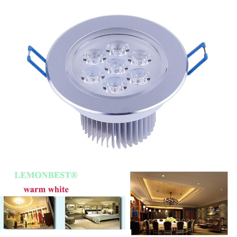 LEMONBEST Super Bright Dimmable 7W LED Ceiling Light Downlight Recessed Lighting kit for decoration lighting lamp 110V with transformer, Warm White by LemonBest (Image #2)