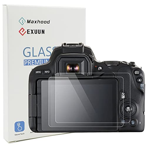 Maxhood (2-Pack) Canon EOS 200D Tempered Glass Screen Protector, Optical 9H Hardness 0.3mm Ultra-Thin DSLR Camera Tempered Glass for Canon 200D