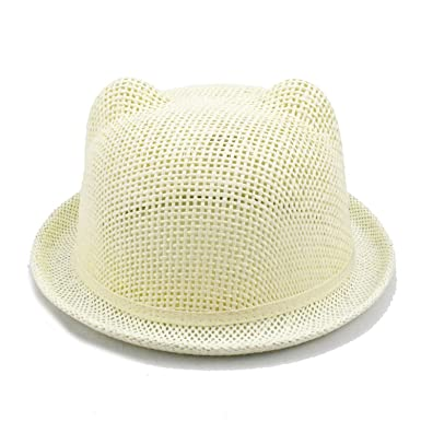 Summer Children Straw Hat Cat Ear Decoration Cute Baby Beach ... 48207b51b