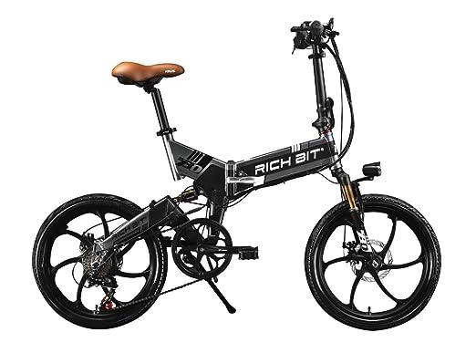 Bicicleta Eléctrica Bicicleta Plegable Ciclismo Rich Bit® RT730 250 W * 48V 8Ah 7Speed Equipada funda para teléfono cargador y soporte doble freno de disco ...