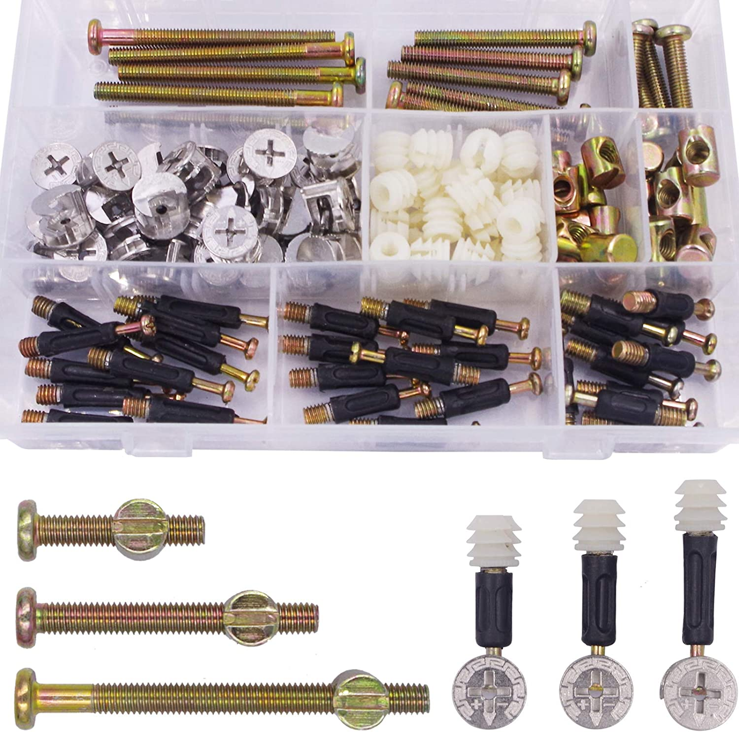 Wolfride Furniture Cam Fitting with Dowel and Pre-Inserted Nut M6x32mm/35mm/40mm M6 Barrel Bolts and Nuts Kit M6x30mm/50mm/70mm