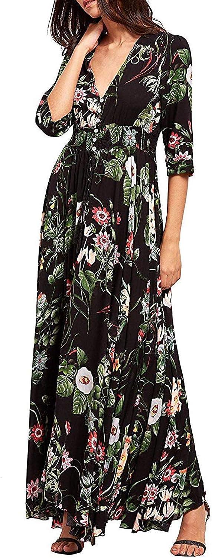 KUONUO vestidos de mujer Mujer Verano Cuello en V Boho Largo Maxi Vestido Fiesta Nocturna playa Vestir Floral Vestidos de sol