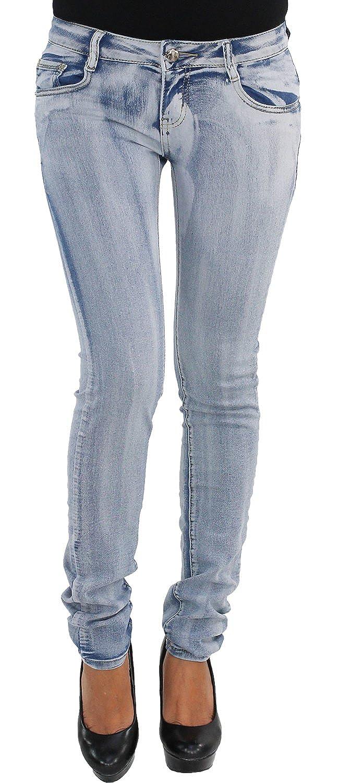 Damen High Waist Stretch Jeans Hose Röhre Damenjeans Röhrenjeans verwaschen Legg